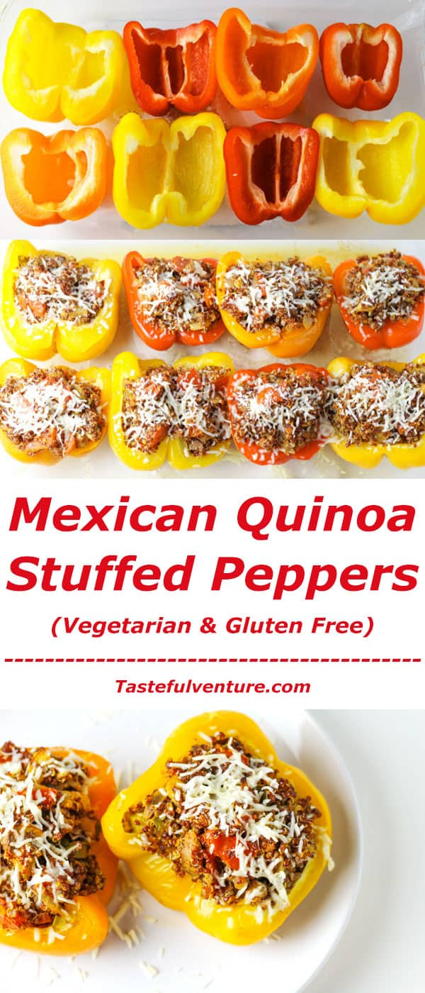 These Mexican Quinoa Stuffed Peppers are Low in Calories, Vegetarian, Gluten Free, and so Delicious! | Tastefulventure.com