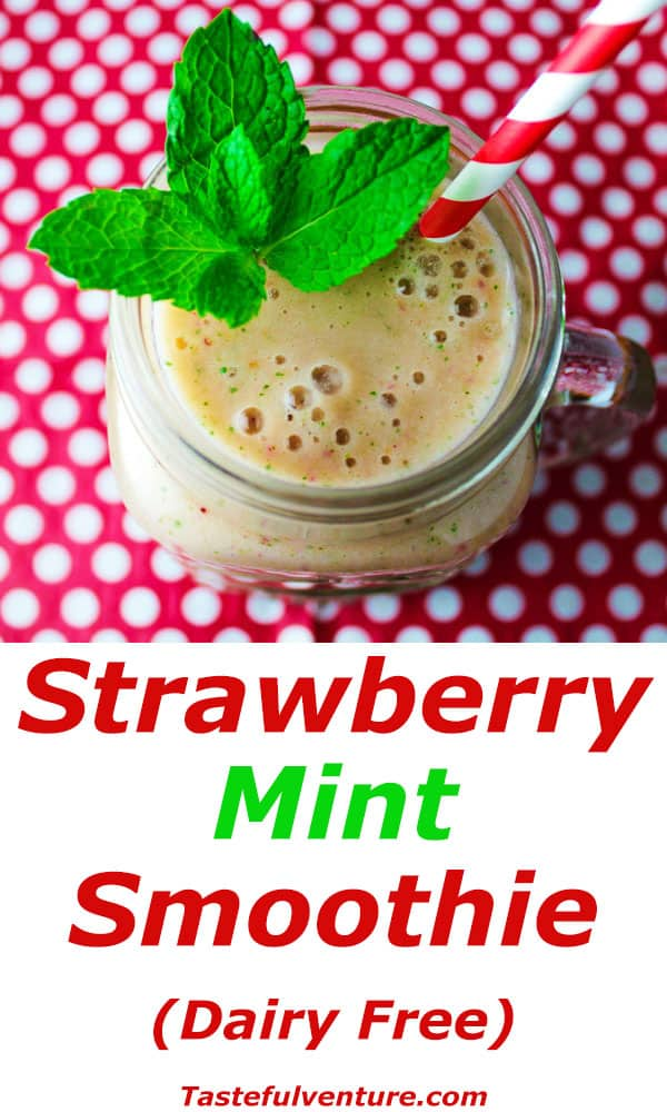This Strawberry Mint Smoothie that is Low in Fat and is so refreshing made with Mint, Strawberry, Honey Yogurt, and Vanilla. This is Dairy Free and so easy to make for breakfast! | Tastefulventure.com