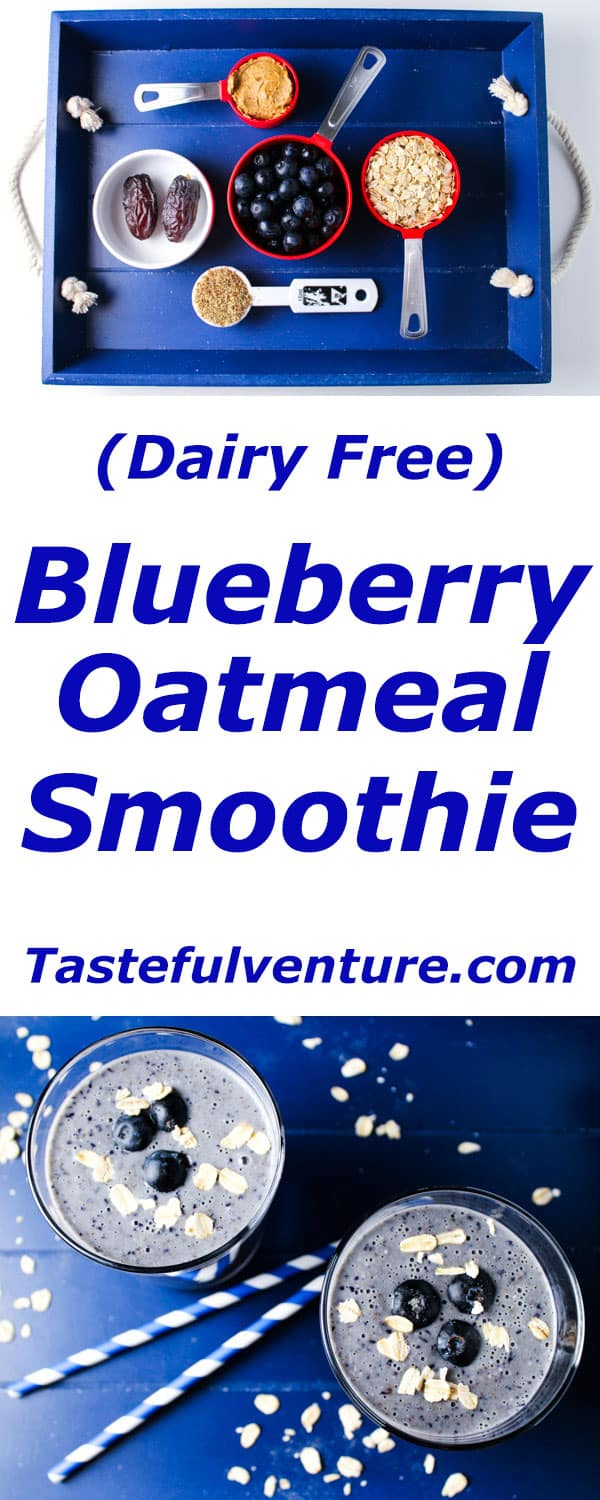 This Blueberry Oatmeal Smoothie tastes just like it sounds, so thick and creamy, oh and it's Dairy/Gluten Free! | Tastefulventure.com