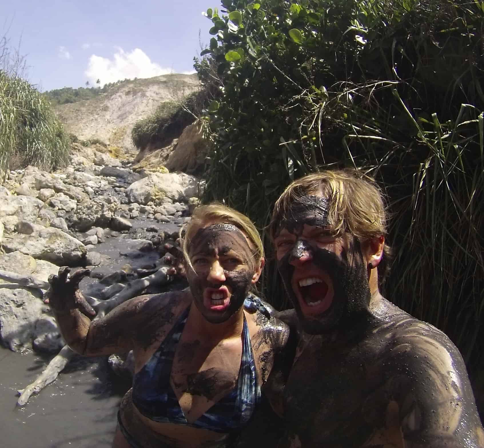 St Lucia Sulphur Springs Mud Smear Fest