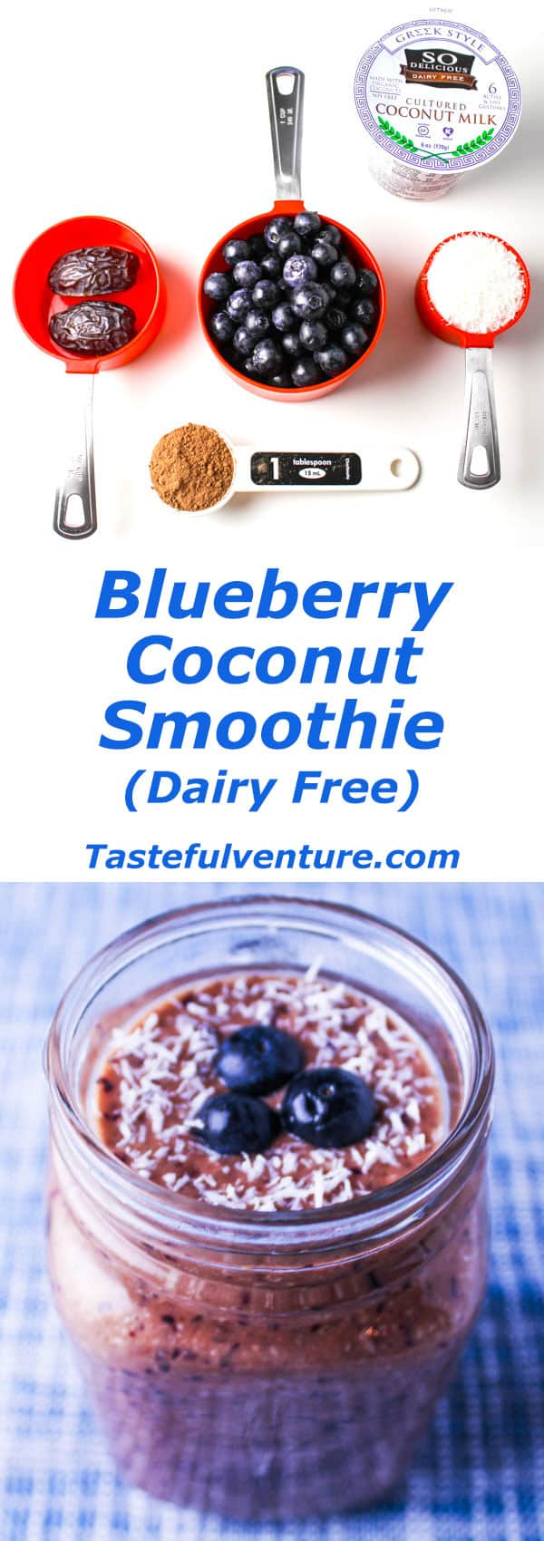 This Blueberry Coconut Smoothie is Dairy Free! We used Coconut Milk, Coconut Milk Yogurt, shredded Coconut, Dates, Raw Cacao, and Blueberries. | Tastefulventure.com