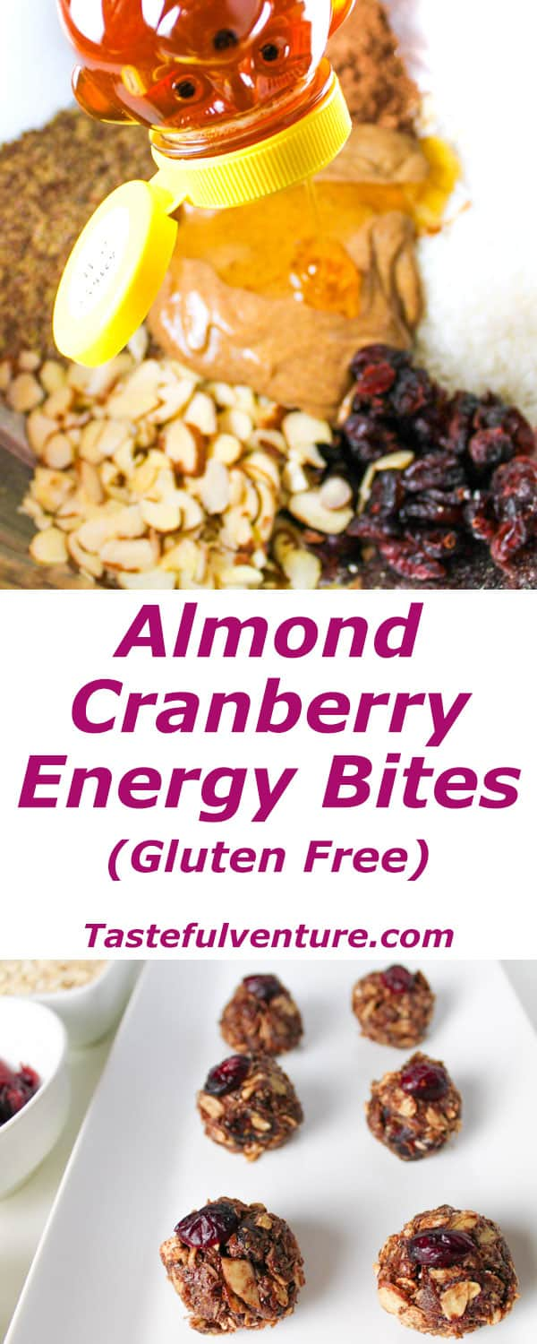 These Almond Cranberry Energy Bites are packed with goodness and will give you that boost of energy! Great for on the go snacks or after a workout. | Tastefulventure.com