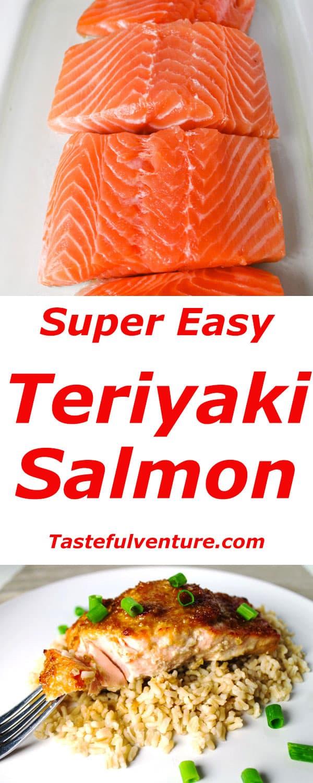 This Teriyaki Salmon is so easy to make, we made our own Teriyaki sauce using soy sauce, ginger, honey, brown sugar, and lemon juice. | Tastefulventure.com