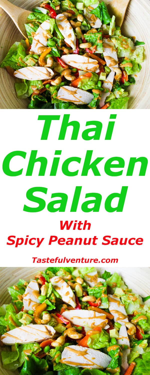 Thai Chicken Salad with Spicy Peanut Sauce is so easy to make and is ...