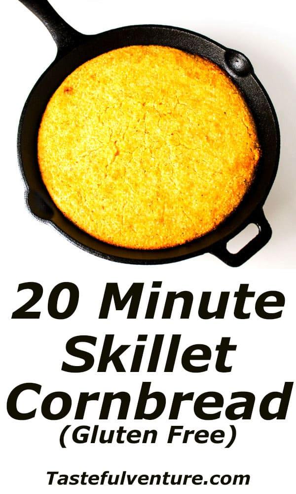 20 Minute Skillet Cornbread (Gluten Free) that is super easy to make and is so addicting! | Tastefulventure.com