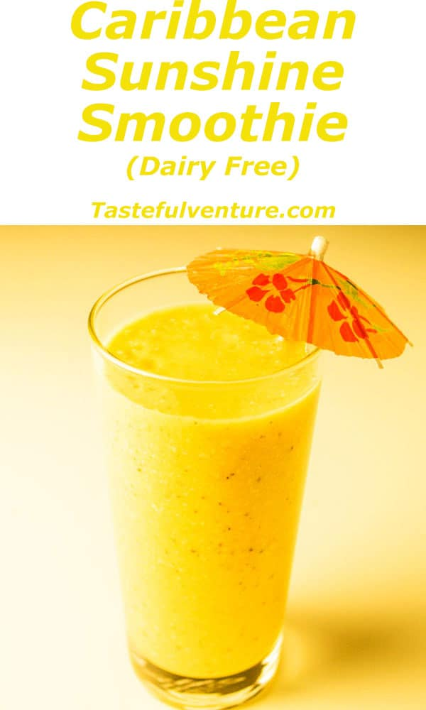 Caribbean Sunshine Smoothie packed with Vitamin C, made with Coconut Milk, Mango, Pineapple, Banana, Coconut Flakes, and Chia Seed Gel. | Tastefulventure.com