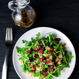 Quinoa Cranberry Pecan Arugula Salad