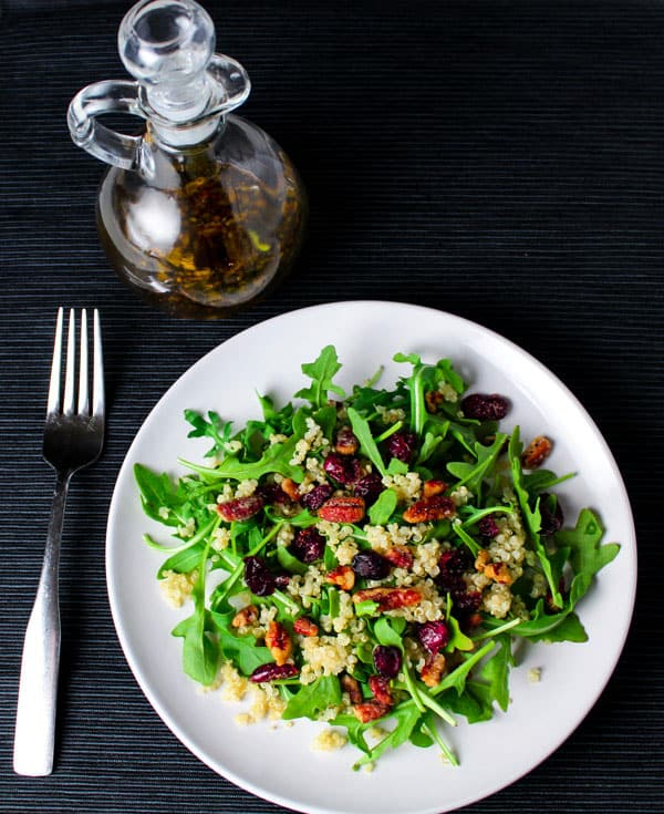 Quinoa Cranberry Pecan Arugula Salad ~ We made a super easy Balsamic Vinegar Dressing for this salad! | Tastefulventure.com
