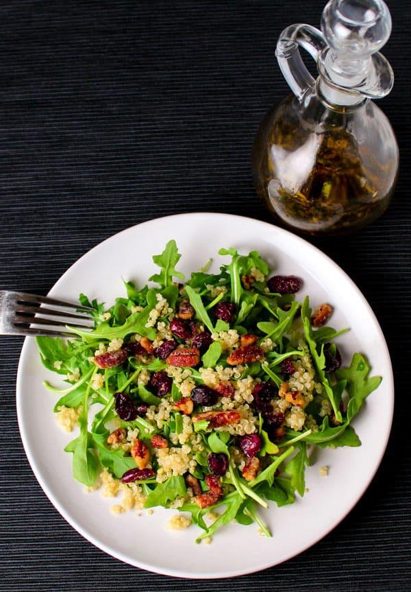 Quinoa Cranberry Pecan Arugula Salad with a super easy Balsamic Vinegar Dressing!   Tastefulventure.com