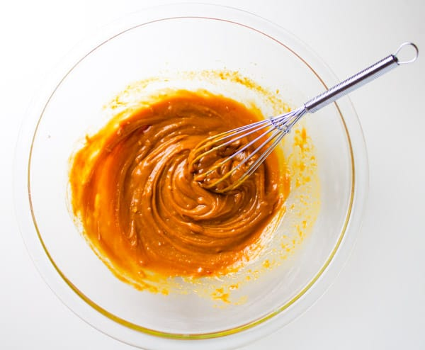 Spicy Peanut Sauce being mixed