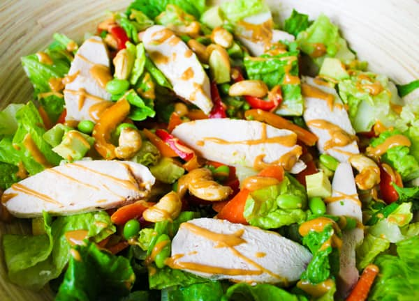 Thai Chicken Salad with Spicy Peanut Sauce is so easy to make and is so addicting! | Tastefulventure.com