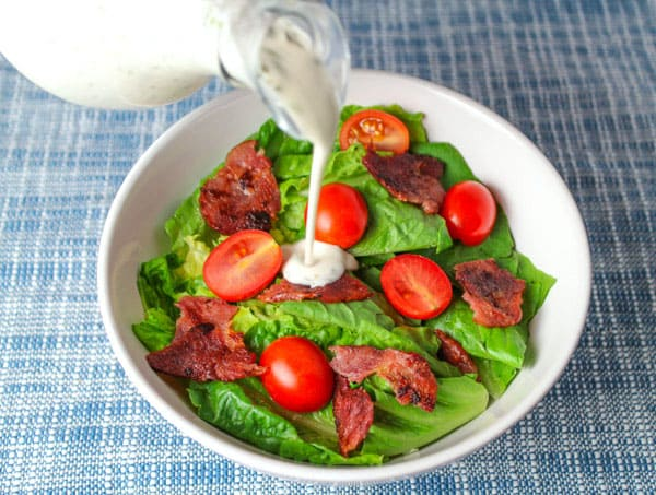 Skinny BLT Salad with Turkey Bacon and a Dairy Free Ranch Dressing that is also Gluten Free! by Tastefulventure.com