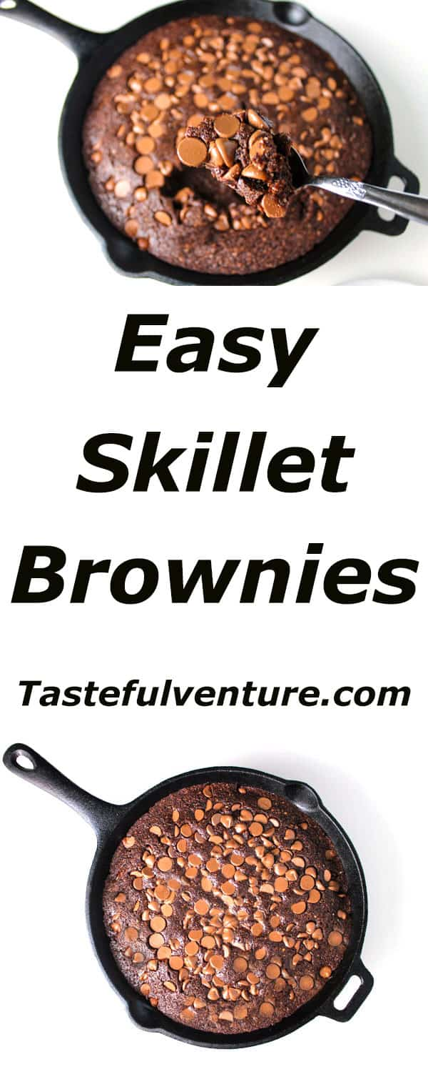 Easy Skillet Brownies that are Gluten Free and soooo moist and delicious! | Tastefulventure.com