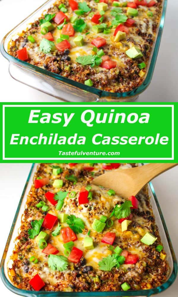 Easy Quinoa Enchilada Casserole perfect for Meatless Mondays and it's Gluten free! | Tastefulventure.com
