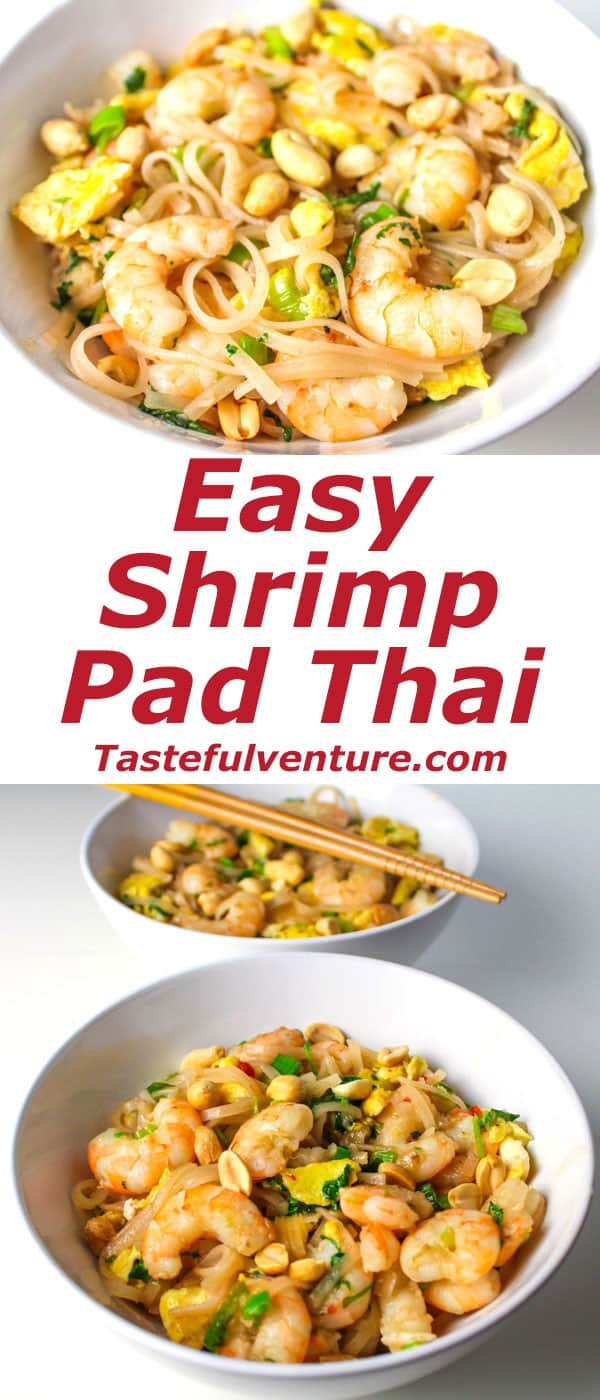 Easy Shrimp Pad Thai that is Gluten Free and so delicious, you'll never order take-out again! | Tastefulventure.com