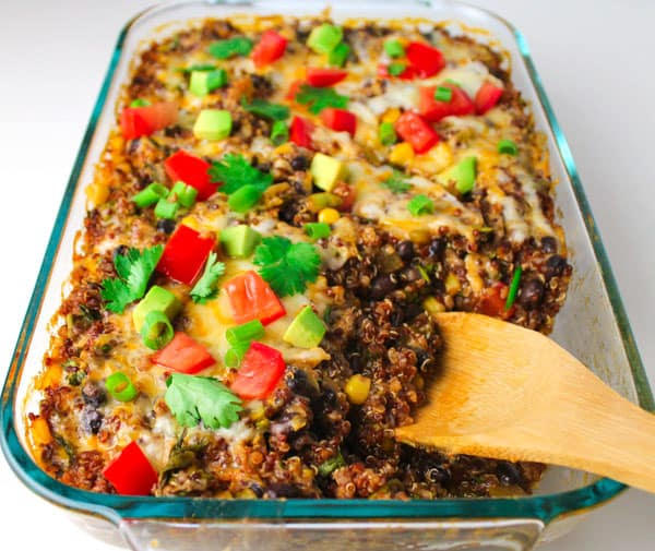Easy Quinoa Enchilada Casserole perfect for Meatless Mondays and it's Gluten free! by Tastefulventure.com
