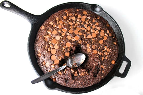 spoon in brownie skillet