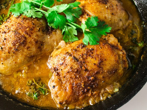 Skillet Cilantro Lime Chicken Thighs that are dripping with flavor and so easy to make! by Tastefulventure