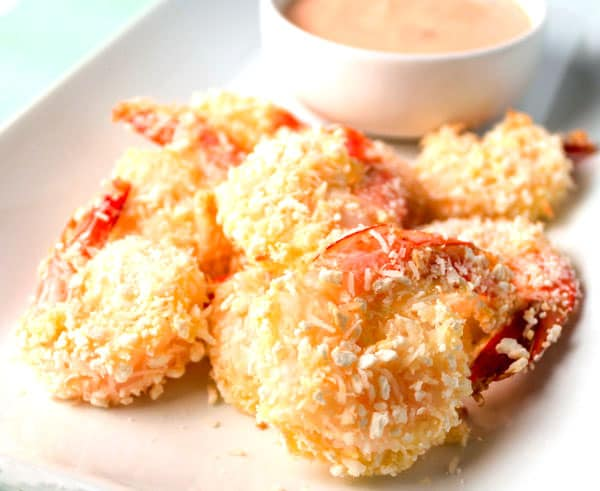 Baked Coconut Shrimp with Spicy Mayo Dipping Sauce. This is super easy to make and is Gluten Free! | Tastefulventure.com