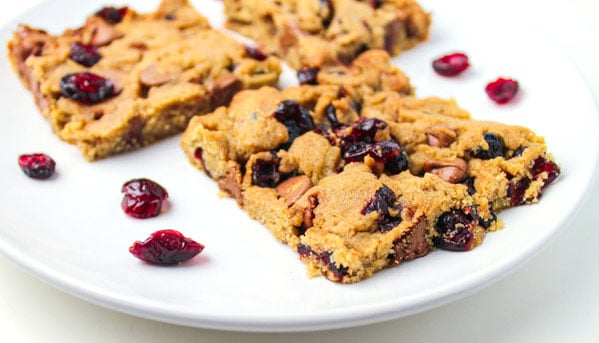 Cranberry Chocolate Chip Blondies just in time for fall + they are Gluten Free! by Tastefulventure.com