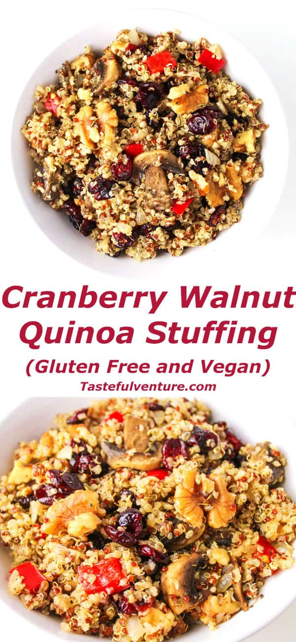 This Cranberry Walnut Quinoa Stuffing is super easy to make and perfect for Thanksgiving, it's a crowd favorite! It's also Gluten Free and Vegan! | Tastefulventure.com
