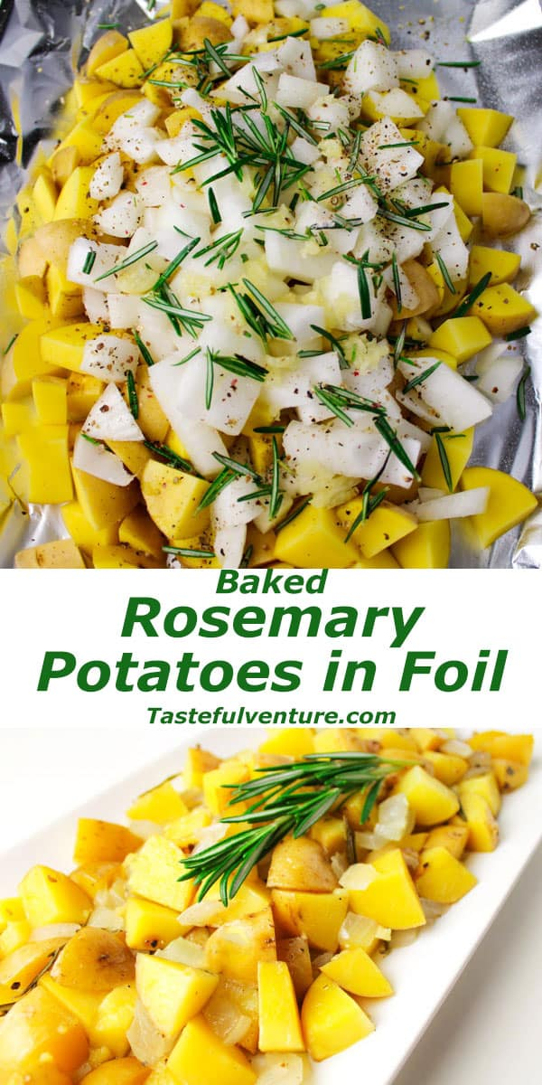 Easy Rosemary Potatoes Baked in Foil. This is one of the easiest side dishes to make, just put everything in foil, wrap it up, and bake ~ No cleanup! | Tastefulventure.com
