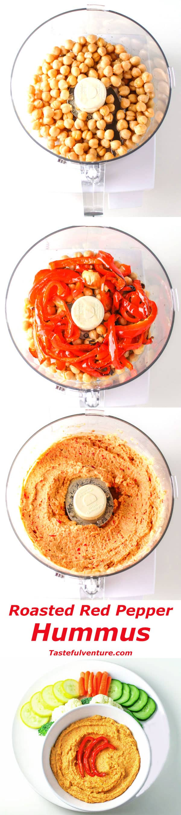 Easy Roasted Red Pepper Hummus, perfect for any party, and it's Gluten Free! | Tastefulventure.com