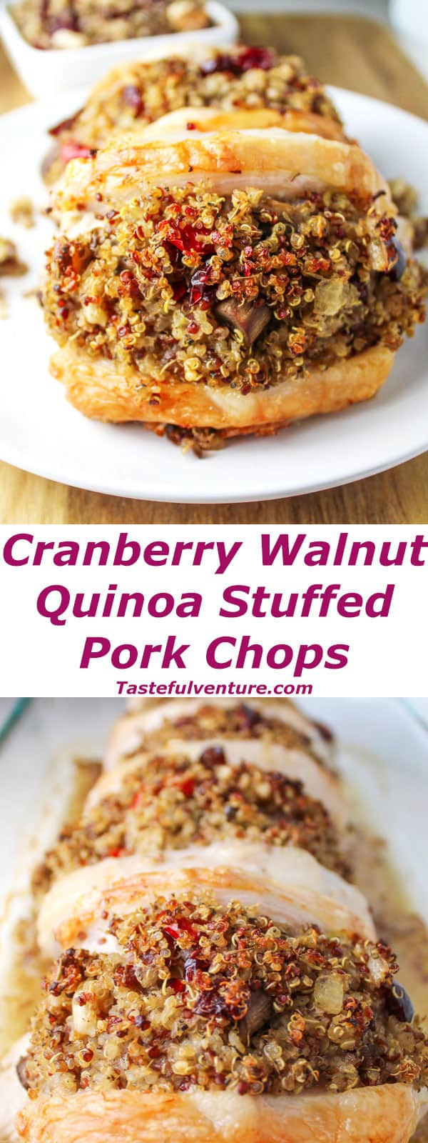 These Cranberry Walnut Quinoa Stuffed Pork Chops are a great way to use up that left over stuffing from Thanksgiving, and it's Gluten Free! | Tastefulventure.com