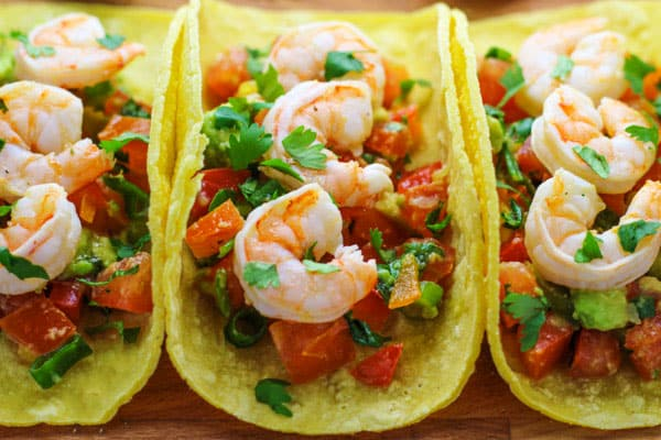 These Baja Shrimp Tacos with Fiesta Avocado Salsa are so delicious, perfect for Taco Tuesday! | Tastefulventure.com