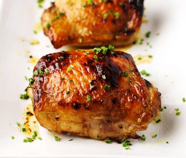 Baked Asian Chicken Thighs, We used a super simple marinade for this chicken using rice wine vinegar, tamari (GF soy sauce), sesame oil, honey, garlic, and red pepper flakes. | Tastefulventure.com