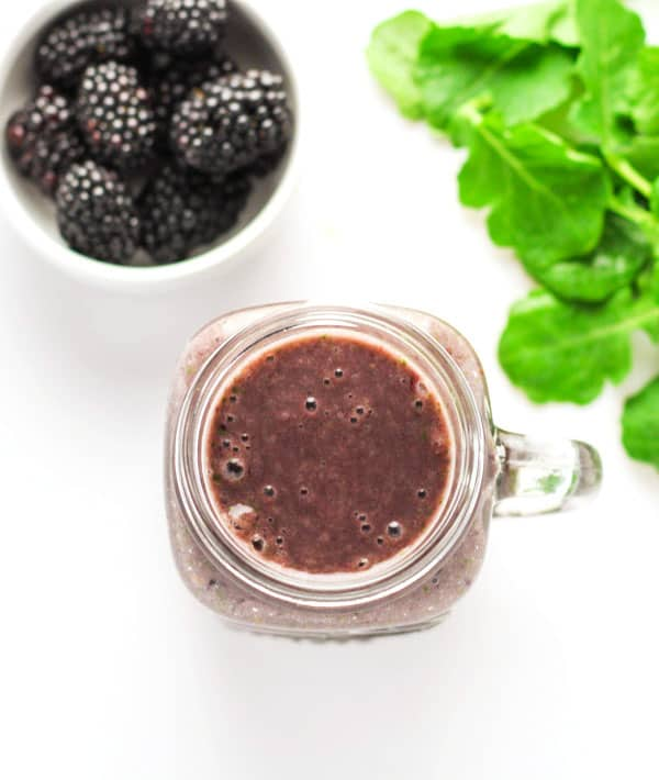 This Blackberry Banana Kale Smoothie is a great way to sneak in your greens (or sneak them in for your kids)! This tastes so creamy and delicious, and full of Vitamins! | Tastefulventure.com