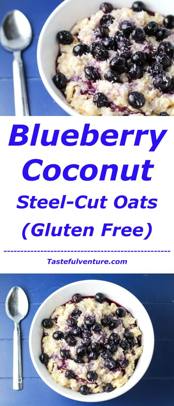 See how easy it is to cook up a pot of these Blueberry Coconut Steel-Cut Oats! We made this hearty breakfast Vegan and Gluten Free! | Tastefulventure.com