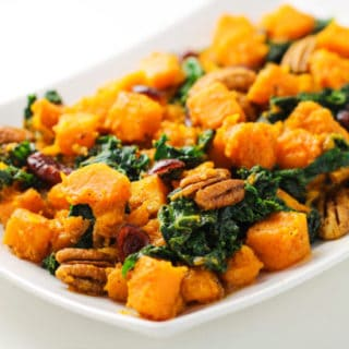 Butternut Squash and Kale Stir Fry with Maple Vinaigrette