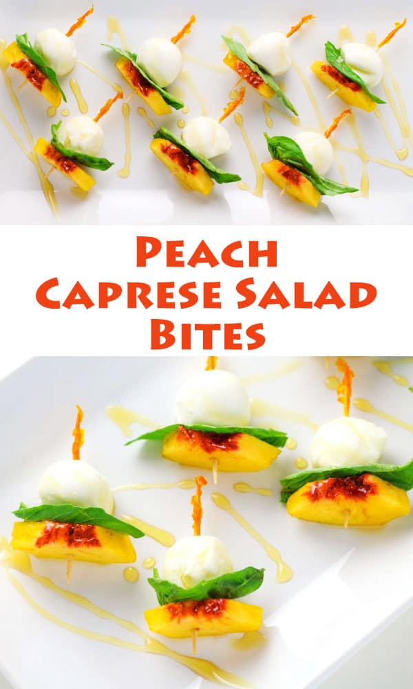 These Peach Caprese Salad Bites are an easy appetizer to take on-the-go or for tailgating! ad| Tastefulventure.com