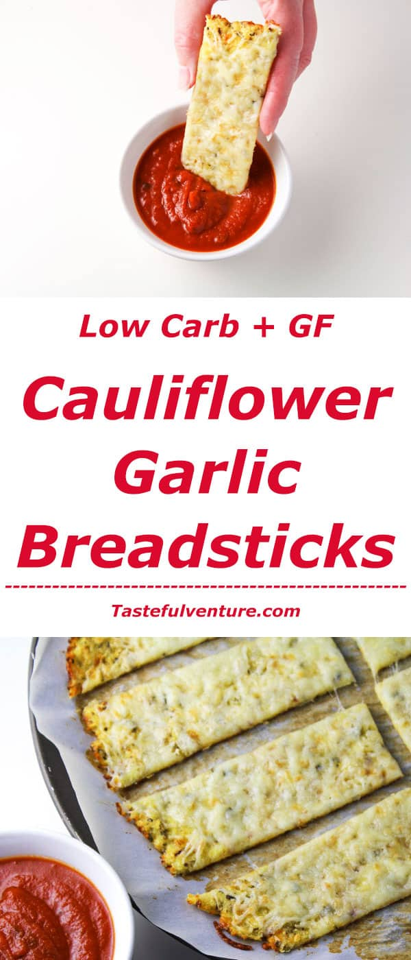 These Low Carb Cauliflower Garlic 'Breadsticks' are guilt free and so delicious! | Tastefulventure.com