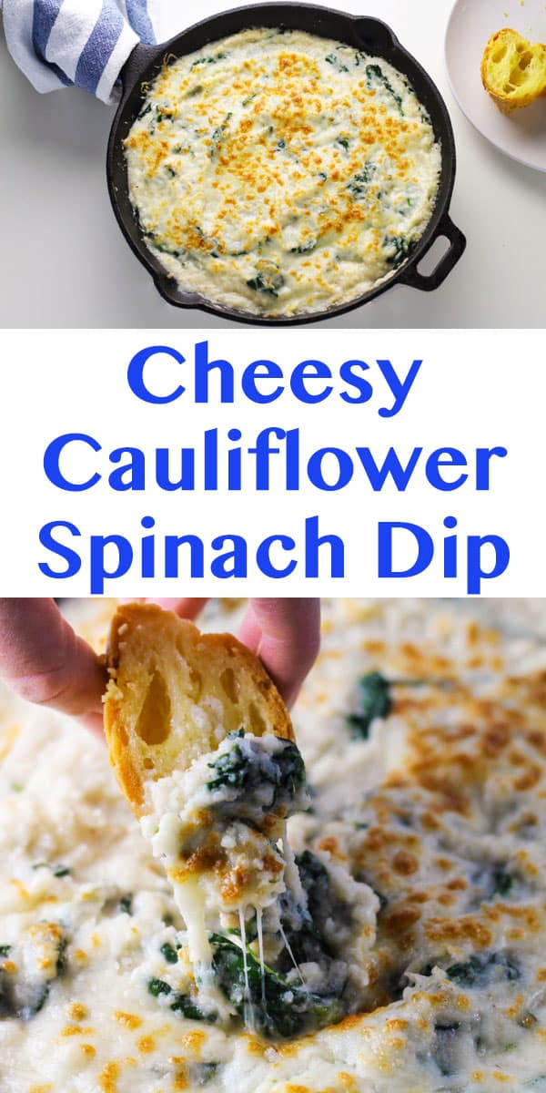 This Cheesy Cauliflower Spinach Dip is Low in Calories but loaded with flavor! | Tastefulventure.com