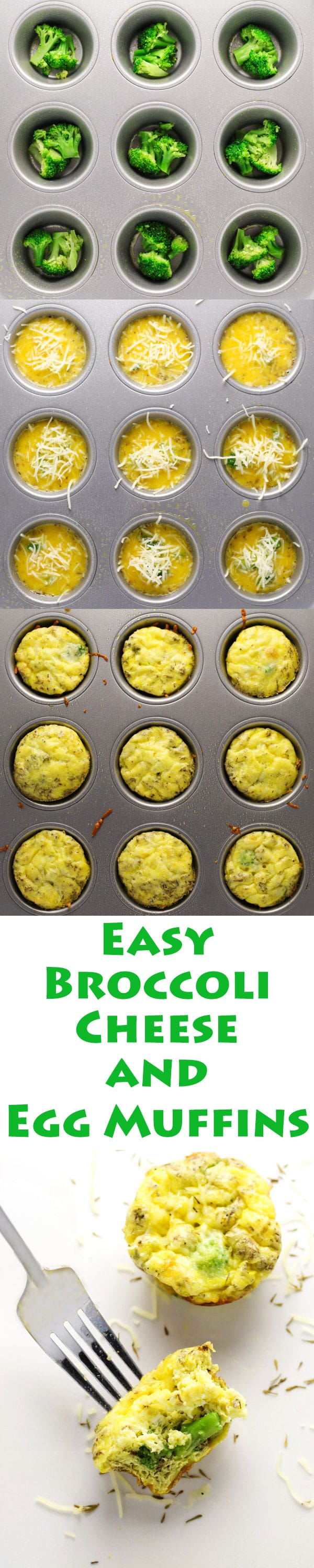 These Broccoli Cheese and Egg Muffins are so easy to make. Just add everything into a muffin tin and bake! This is perfect for breakfast on the go too, since it can be made ahead of time. | Tastefulventure.com
