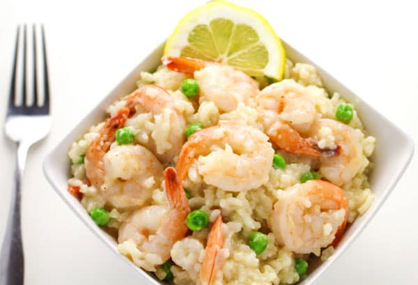 Easy Shrimp Risotto that can be made in about 35 minutes and tastes so creamy and delicious! | Tastefulventure.com