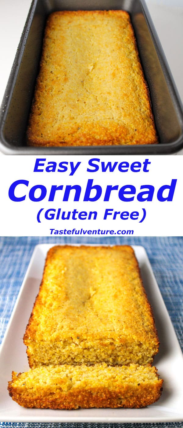 Easy Sweet Cornbread (Gluten Free), this is so easy to make and super delicious! | Tastefulventure.com