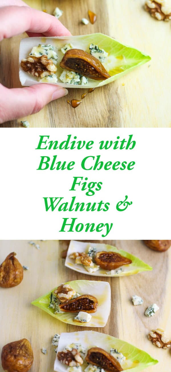 Endive with Blue Cheese Figs Walnuts and Honey, the perfect appetizer for any holiday party! | Tastefulventure.com