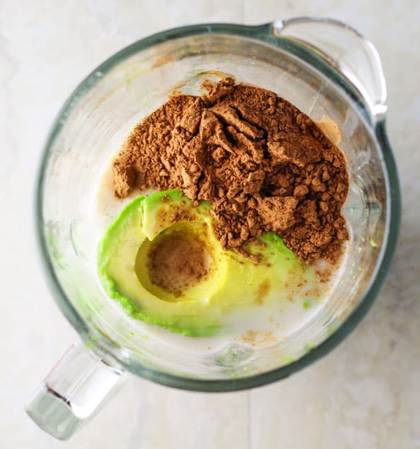 Healthy Chocolate Avocado Smoothie made with Vanilla Almond Milk, Avocado, Banana, Honey, and Raw Cacao Powder. | Tastefulventure.com