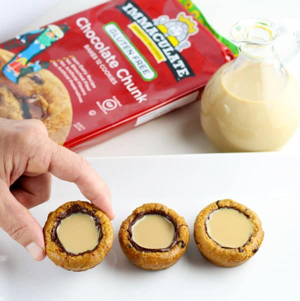 Irish Cream Cookie Cups, the perfect Holiday drink/dessert! Made with gluten free cookie dough, so easy! | Tastefulventure.com #ad #ImmaculateBakes