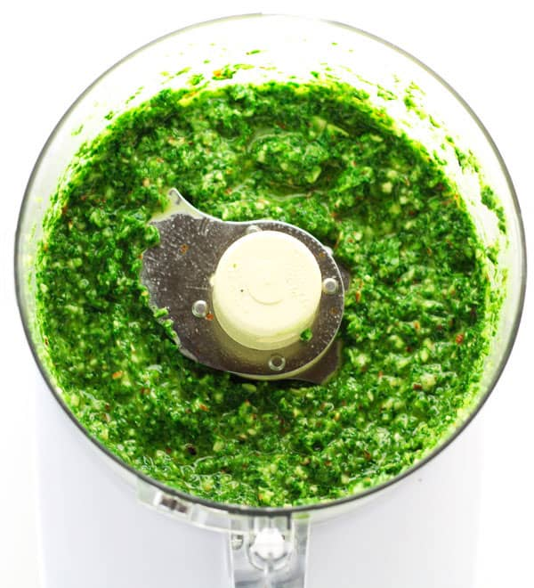 This Vegan Kale Pesto only takes 5 minutes to make and tastes so delicious, you'll want to use it on everything! | Tastefulventure.com