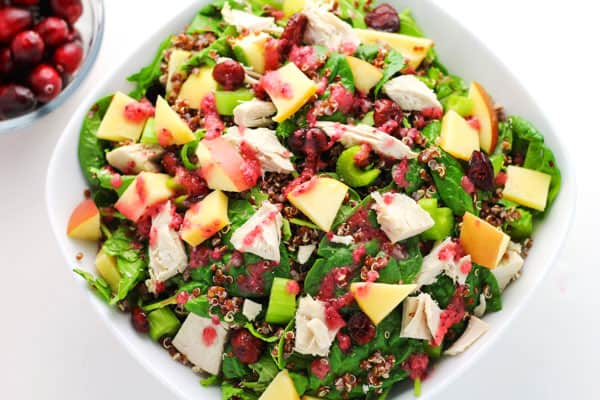 This Leftover Turkey Quinoa Salad with Cranberry Vinaigrette is a healthy way to use up those Thanksgiving leftovers! | Tastefulventure.com