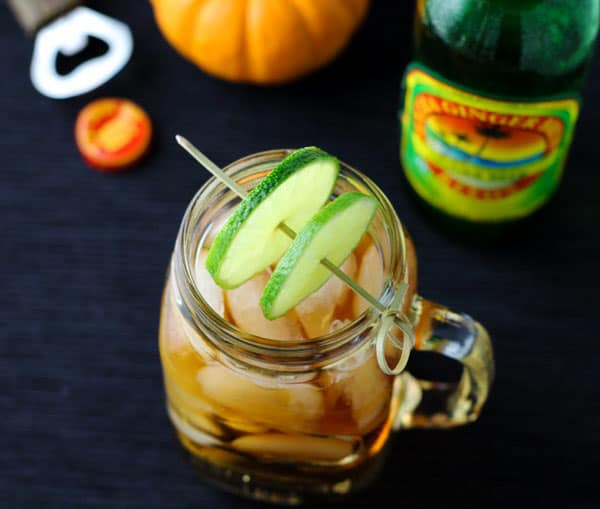 Mason Jar Dark -n- Stormy Cocktail, perfect for Halloween or any party! | Tastefulventure.com