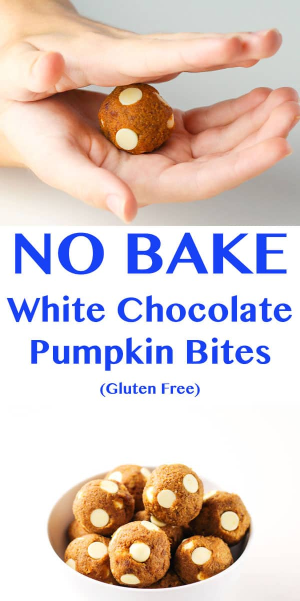No Bake White Chocolate Pumpkin Bites that are Gluten Free and so yummy! | Tastefulventure.com