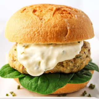 Parmesan Dill Salmon Burger with Garlic Aioli