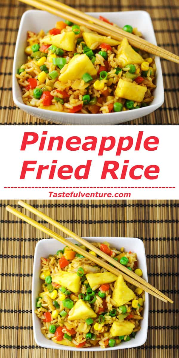 This Pineapple Fried Rice can be made in 20 minutes and is so much healthier than take-out! | Tastefulventure.com