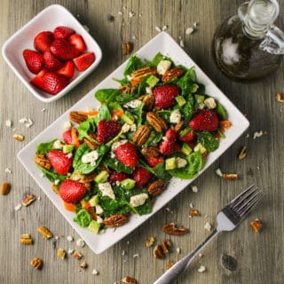 Strawberry Pecan and Feta Spinach Salad with Poppyseed Dressing