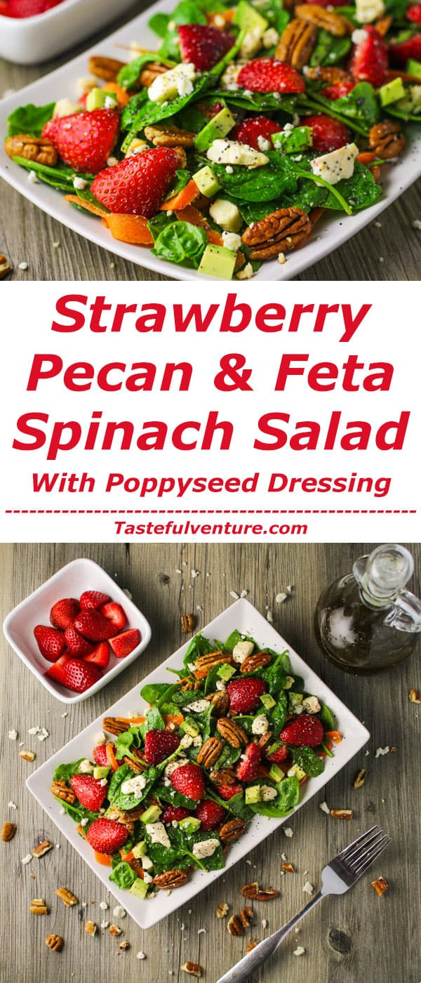 Strawberry Pecan and Feta Spinach Salad with Poppyseed Dressing ~ This is the perfect salad for summer, so light and refreshing! | Tastefulventure.com